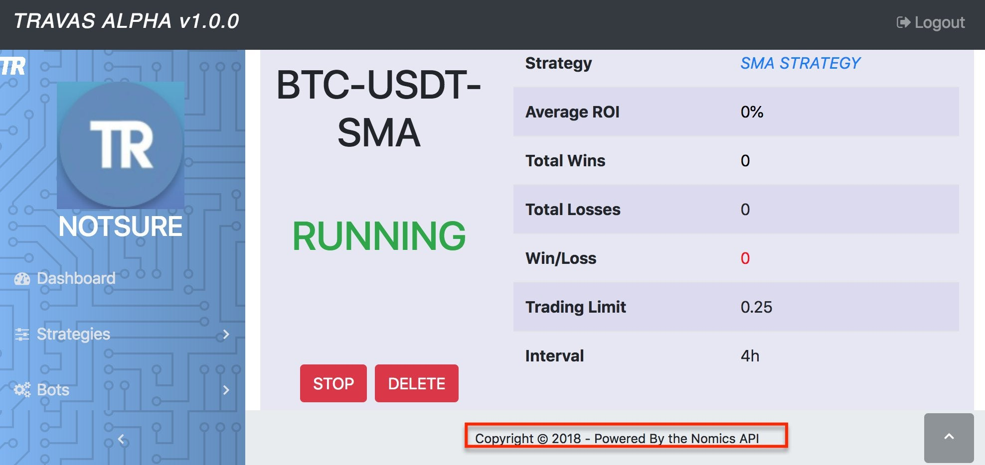 Travas Research Cryptocurrency Trading Bot Built with Nomics Cryptocurrency and Bitcoin API