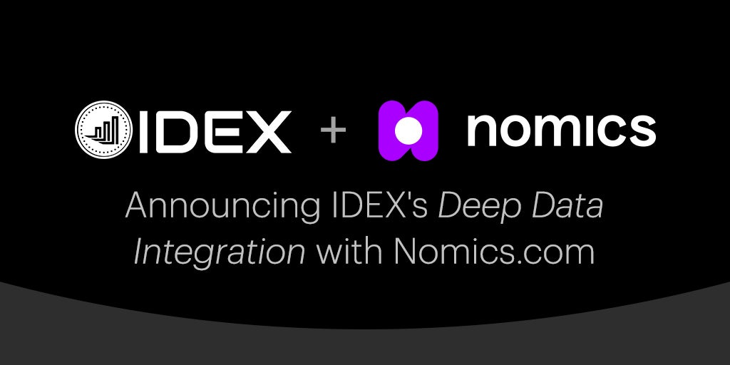 IDEX and The Nomics API Announce Deep Crypto Market Data Exchange Integration