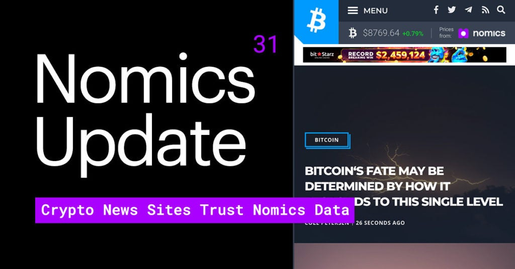 Update #31 – Crypto News Sites Trust Nomics Data + Interview w/ Pete Rizzo of Kraken