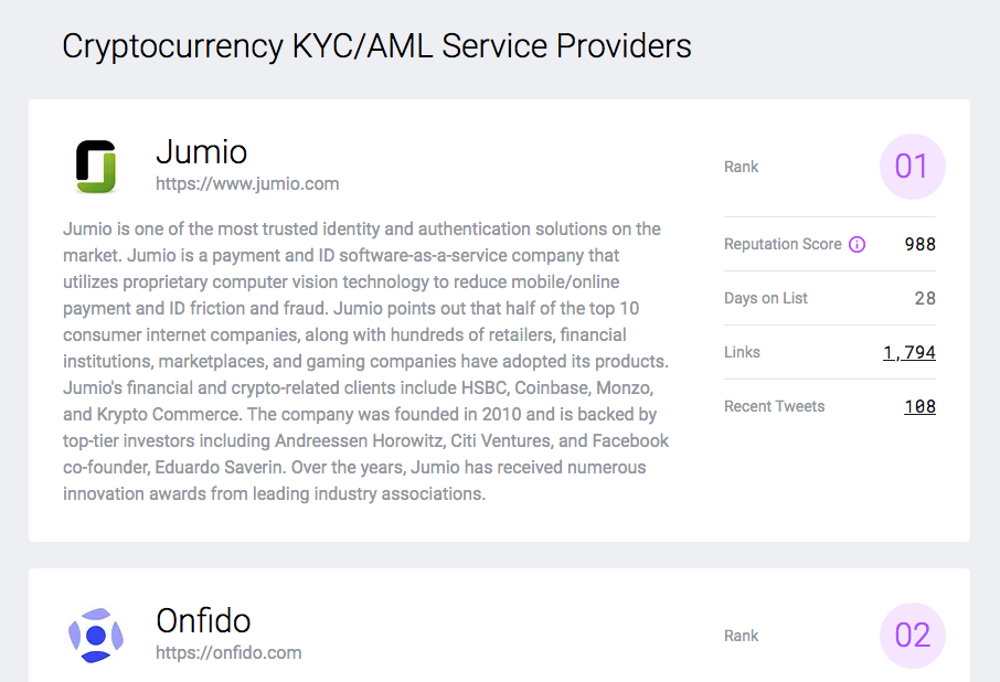 Cryptocurrency KYC/AML service providers