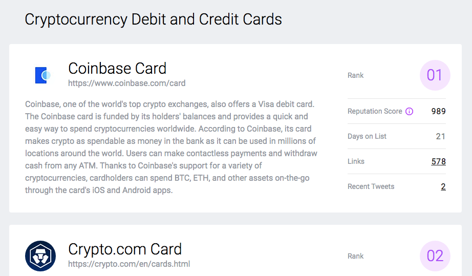 Cryptocurrency debit and credit cards