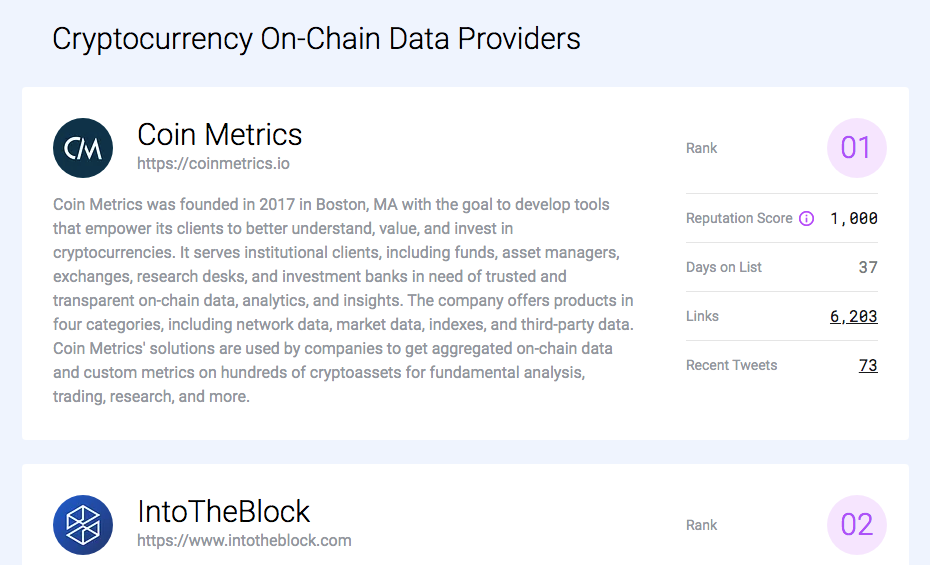 Cryptocurrency on-chain data providers