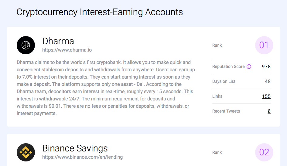 Cryptocurrency interest-earning accounts