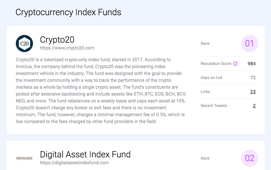 Cryptocurrency Index Funds