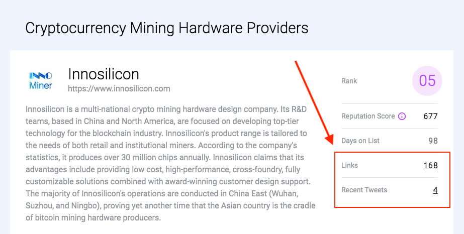 Links & tweets - crypto mining hardware providers